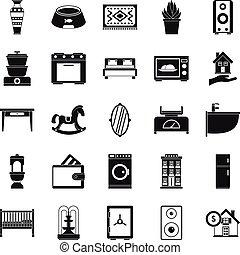 Crib icons set, simple style