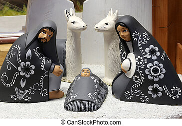 crib of South America with baby Jesus and black small...
