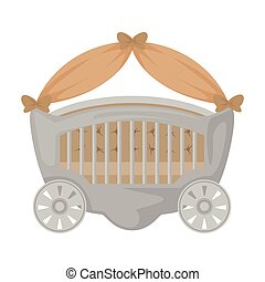 Crib vector icon.Cartoon vector logo isolated on white background crib.