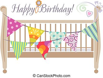 Crib with bright festive flags. Design for greeting card