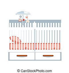 Crib with two drawers and hanging rattle isolated on white colorful illustration in flat design of part of room for baby sleeping with pink mattress and pillow. Furniture for children