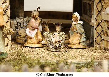 Crib with the nativity scene