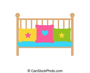 Crib young child s bed with barred or latticed sides, color pillows or couches with heart and stars vector illustration isolated on white background