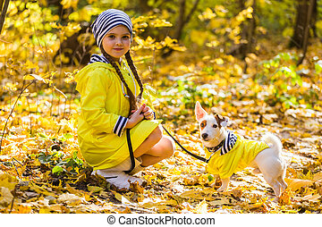 cric, enfant, chien, autumn., russell, gosse, outdoors., terrier, girl, chouchou, puppy.