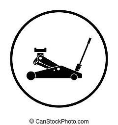 cric, hydraulique, icône