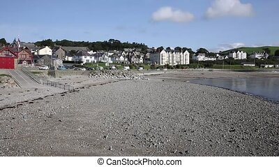 Criccieth beach and seafront North Wales UK in summer -...
