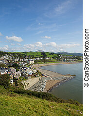 Criccieth North Wales UK historic coastal town in summer with blue sky on a beautiful day