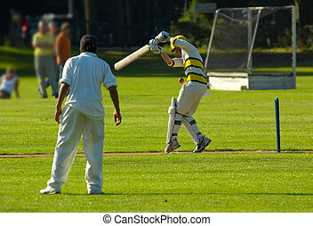 cricket action - Action shot of people playing cricket