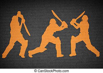 cricket action - cardboard cutout of cricket action