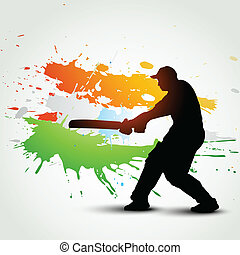 cricket background - vector bactsman hitting ball