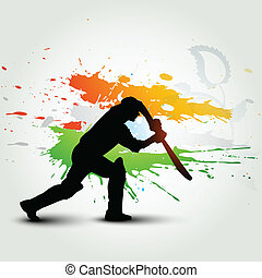 cricket background - vector batsman playing cricket