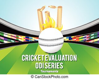 cricket background with ball & stadium vector illustration
