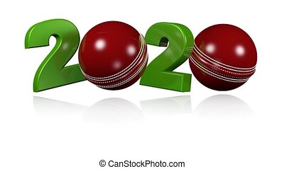 Cricket ball 2020 design in Infinite Rotation on a White...