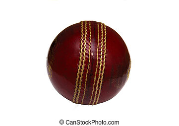 Cricket Ball - A new shiny cricket ball isolate on white in...