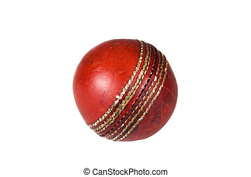 Cricket ball - An old and worn cricket ball isolated against...