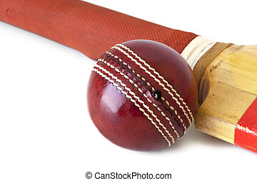 Cricket Ball and Bat over White - Old cricket bat and...