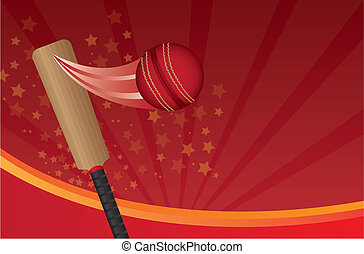 cricket ball and cricket bat over red background. vector
