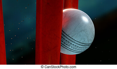 Cricket Ball And Wickets - An extreme closeup of a white...