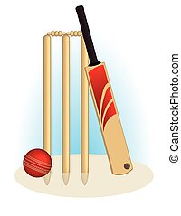 Cricket ball, bat and wicket