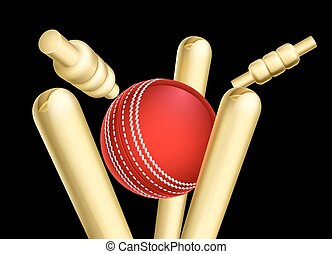 Cricket Ball Breaking Wicket Stumps - A cricket ball...