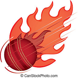 cricket ball with fire isolated over white background....