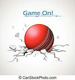 Cricket ball falling on ground making crack