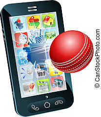 Cricket ball flying out of mobile phone - Illustration of an...