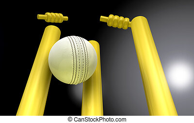 Cricket Ball Hitting Wickets At Night - A white leather...