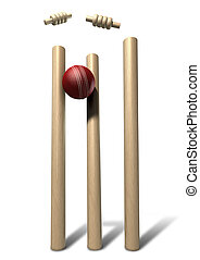 Cricket Ball Hitting Wickets Front Isolated - A red leather...