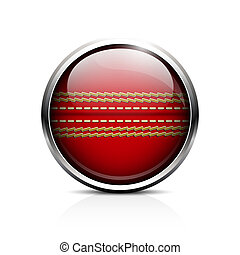 Cricket ball icon - Icon Ball for cricket. Glass shiny...