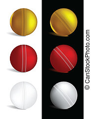 Cricket Ball in gold, red and white colors - vector...
