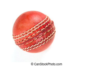 Cricket ball, isolated on white. Classic red leather.