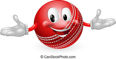 Cricket Ball Mascot - Illustration of a cute happy cricket...