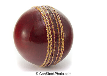 Cricket ball - New red cricket ball, isolated on white...
