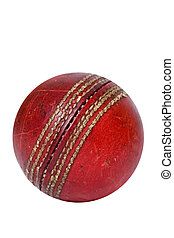 Cricket ball - Old cricket ball isolated on white background