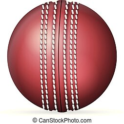 Cricket ball on a white background. Vector illustration.