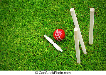 cricket ball on pitch after hitting stumps with copy space