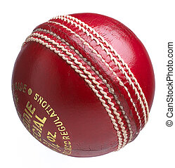 cricket ball on white - a traditional leather cricket ball...