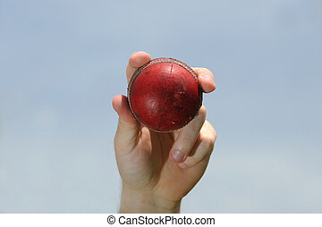 Cricket Ball - A red cricket ball is held up in the air.