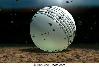 Cricket Ball Striking Ground With Particles At Night - A...