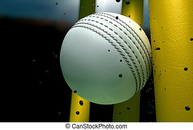 Cricket Ball Striking Wickets With Particles At Night - A...