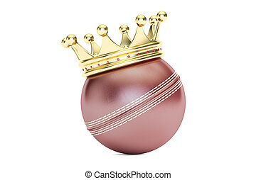 cricket ball with gold crown, 3D rendering