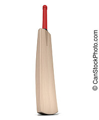 Cricket Bat - A generic wooden cricket bat on an isolated...