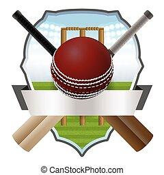 Cricket Bat and Ball Badge Illustration - Cricket bats and...