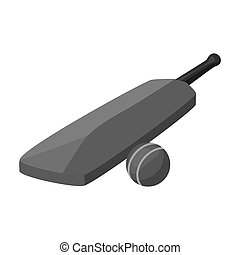 Cricket bat and ball icon in monochrome style isolated on white background. England country symbol stock bitmap, raster illustration.