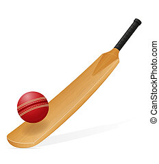 cricket bat and ball illustration isolated on white...