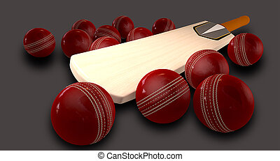Cricket Bat And Balls - A cricket bat lying down surrounded...