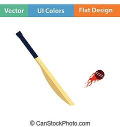 Cricket bat icon. Flat design. Vector illustration.