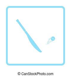 Cricket bat icon. Blue frame design. Vector illustration.