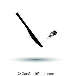 Cricket bat icon. White background with shadow design....